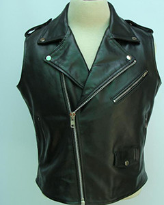 100-Real-Cow-Leather-Black-Sleeveless-Brando-Style-Bikers-Vest-Waistcoat-Jacket