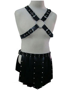 BLACK-LEATHER-HEAVY-DUTY-GLADIATOR-WARRIOR-ARMOUR-KILT-SET-K4