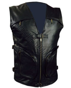 BLACK-LEATHER-MOTORCYCLE-BIKER-VEST-B7