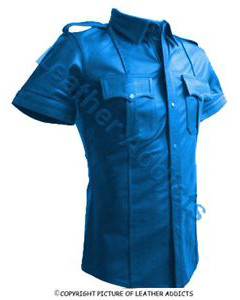 BLUE-Very-sexy-Mens-Pure-LEATHER-Police-Uniform-Shirt-BLUF-Gay