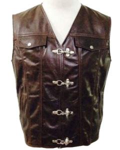 BROWN-Leather-Chrome-Hook-Biker-Vest-B6-BRW
