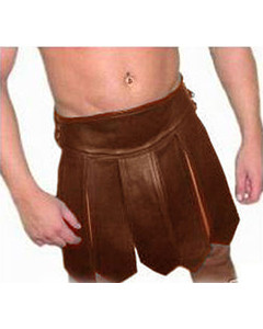 BROWN-Mens-REAL-Pure-LEATHER-Gladiator-Kilt-GAY-Clubwear-LARP-NEW