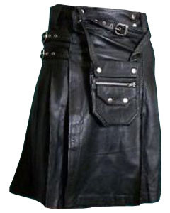 Black-LEATHER-Pleated-Kilt-&-Sporran-K7-BLK