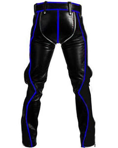 Black-Leather-with-Blue-Piping-Bondage-Jeans-RAW2-BP-1