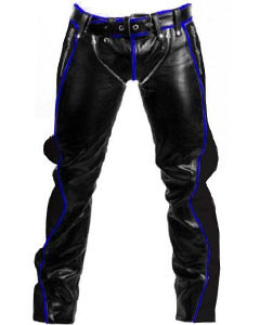 Black-Leather-with-Blue-Piping-Bondage-Jeans-RAW2-BP-4