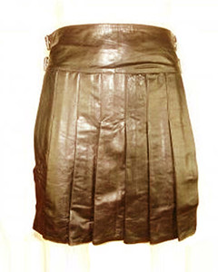 Brown-Mens-Real-LEATHER-Full-Pleated-Kilt-GAY-Clubwear-LARP-NEW-K2-BRW