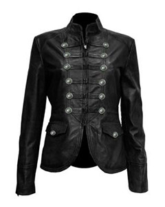 Ladies-Black-Pure-Soft-Sheep-NAPPA-Leather-Military-Syle-Steampunk-Jacket-MJ1