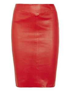 Ladies-Genuine-Soft-Sheep-Nappa-Leather-Red-Pencil-Skirt