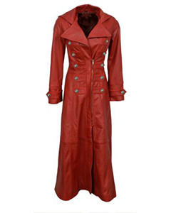 Ladies-Real-Red-Nappa-Sheep-Lambs-Leather-Steampunk-Goth-Style-Trench-Coat-T11
