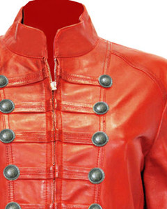 Ladies-Red-Pure-Soft-Sheep-NAPPA-Leather-Military-Syle-Steampunk-Jacket-MJ1