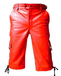 MENS-GENUINE-REAL-RED-LEATHER-COMBAT-CARGO-SHORTS-Lederhosen-CARGO1RED