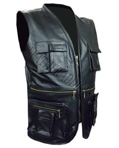 MENS-REAL-COW-LEATHER-BLACK-MOTORCYCLE-BIKER-STYLE-VEST-WAISTCOAT-B10
