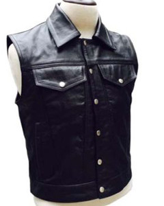 MENS-REAL-COW-LEATHER-BLACK-MOTORCYCLE-BIKER-STYLE-VEST-WAISTCOAT-B13