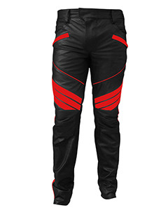 MENS-SEXY-REAL-BLACK-RED-LEATHER-MOTORCYCLE-BIKERS-PANTS-JEANS-TROUSER-J5RED-04