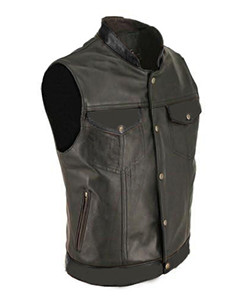 Mens-100-Pure-Cow-Leather-ALL-BLACK-Waistcoat-Bikers-Vest-B4