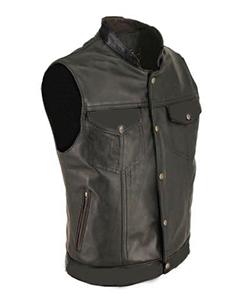 Mens-100-Pure-Cow-Leather-ALL-BLACK-Waistcoat-Bikers-Vest-B4