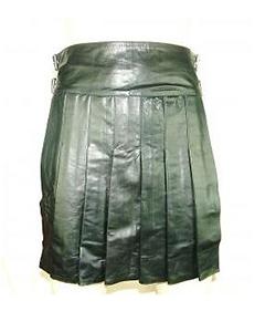 Mens-100-Pure-LEATHER-Full-Pleated-Kilt-GAY-Clubwear-LARP-NEW-K2