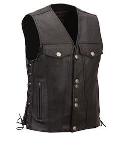 Mens-100-Pure-Leather-Black-Waistcoat-Bikers-Vest-B5