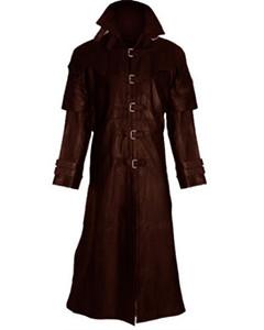 Mens-Brown-Skipper-Leather-Goth-Matrix-Trench-Coat-Steampunk-Gothic-Van-Helsing