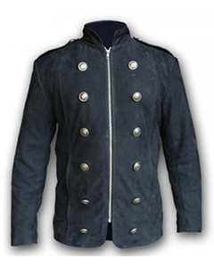 Mens-Pure-BLACK-NUBUCK-Leather-Military-Style-Steampunk-Jacket-SPJ3-BLK