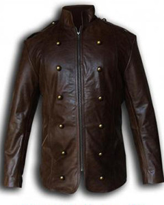 Mens-Pure-BROWN-Cow-Leather-Military-Style-Steampunk-Jacket-SPJ3-BRW