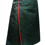 Mens-REAL-Black-Leather-Pleated-LARP-Kilt-Flat-Front-Rear-Pocket-Wrap-Style-K9
