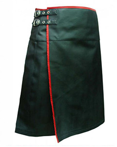 Mens-REAL-Black-Leather-Pleated-LARP-Kilt-Flat-Front-Rear-Pocket-Wrap-Style-K9