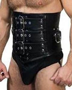 Mens-REAL-Leather-Heavy-Duty-Bondage-Male-Corset-Cincher-MCOR1