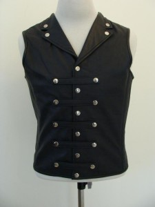 Mens-REAL-Leather-Waistcoat-Vest-Victorian-Corset-Steel-Boned-GOTH-Military