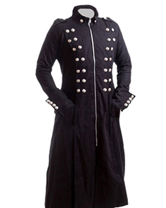 Mens-Real-BLACK-NUBUCK-Leather-Military-Style-Gothic-Steampunk-Full-Coat-T12