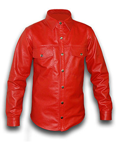 Mens-Real-RED-Cow-Sheep-LEATHER-Full-Sleeves-Police-Uniform-Shirt-BLUF-Gay