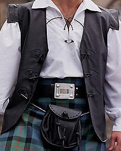 Mens-Scottish-Pure-Leather-Jacobite-Toggle-Waistcoat-Vest-Kilt-Combo-V10
