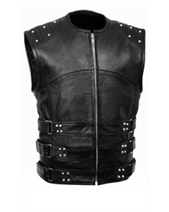 Mens-Sexy-S-W-A-T-Style-REAL-Black-Leather-Bikers-Waistcoat-Vest-BLUF-B8