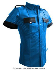 NEW-BLUE-BLACK-Very-sexy-Mens-Pure-LEATHER-Police-Uniform-Shirt-BLUF-Gay