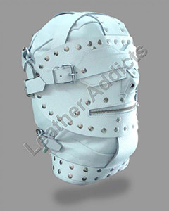 NEW-EXCLUSIVE-WHITE-LEATHER-BONDAGE-HOOD-WITH-BLINDFOLD-LOCKING-MOUTH-ZIP-BH2
