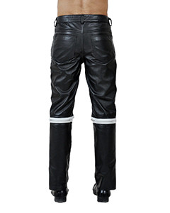 NEW Mens 100% Pure Leather Police Style Breeches  Bikers Jeans BLUF-02