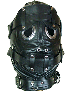 NEW-Pure-Leather-Bondage-Hood-with-Mouth-Gag-Blindfold-H6