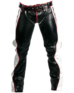 NEW-SEXY-REAL-BLACK-RED-WHITE-LEATHER-HEAVY-DUTY-BONDAGE-PANTS-JEANS-BLUF-GAY-06