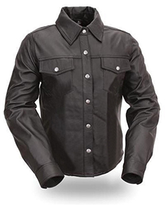 NEW-Very-sexy-Mens-Pure-LEATHER-Full-Sleeves-Police-Uniform-Shirt-BLUF-Gay