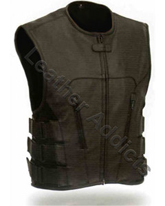 New-Mens-Sexy-Stylish-S-W-A-T-Style-Pure-Leather-Bikers-Waiscoat-Vest-BLUF
