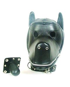 Quality-Leather-Dog-Puppy-Bondage-Hood-Mask-Mouth-Gag-NEW-Fetish
