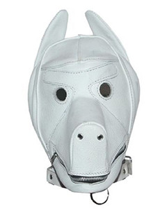 Quality-White-Leather-Dog-Puppy-Bondage-Hood-Mask-Mouth-Gag-NEW-Fetish