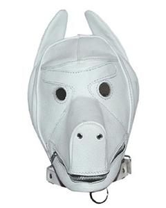 Quality-White-Leather-Dog-Puppy-Bondage-Hood-Mask-Mouth-Gag-NEW-Fetish
