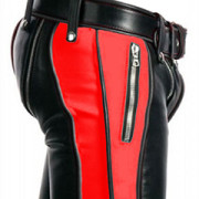 SEXY-REAL-BLACK-RED-LEATHER-HEAVY-DUTY-BONDAGE-PANTS-JEANS-BLUF-GAY-R2-RED-BLK-03