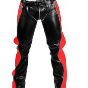 SEXY-REAL-BLACK-RED-LEATHER-HEAVY-DUTY-BONDAGE-PANTS-JEANS-BLUF-GAY-R2-RED-BLK-05