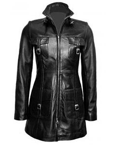Sexy-Ladies-Real-Black-Nappa-Sheep-Leather-Steampunk-Goth-Style-Trench-Coat-T14