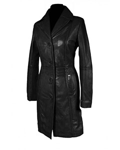 Sexy-Ladies-Real-Black-Nappa-Sheep-Leather-Steampunk-Goth-Style-Trench-Coat-T16