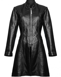 Sexy-Ladies-Real-Black-Nappa-Sheep-Leather-Steampunk-Goth-Style-Trench-Coat-T9