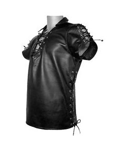 Very-Sexy-Pure-Leather-Mens-Side-Laced-Shirt-BLUF-Gay