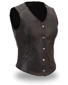 Very-Sexy-Womens-Ladies-Pure-Leather-Waistcoat-Vest-With-Front-Press-Studs-W2